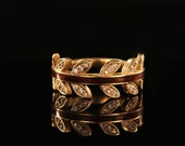 Yellow Gold Wood Leaf Ring