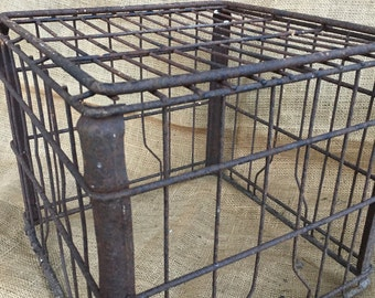 Old metal milk crate, vintage milk crate