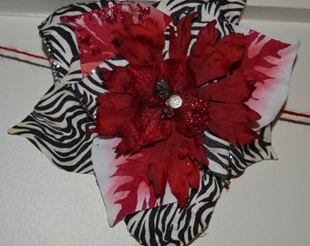 CLEARANCE SALE. 1 LEFT!!!! Red, White, and Zebra-Striped Flower Clip for hair, Christmas tree, or anywhere else!