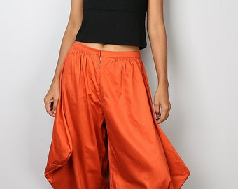Orange Pants / Orange Harem Pants / Wide leg pants / Orange Cotton Pants : Nature Touch Collection