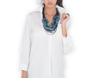 White Shirt / Long Shirt  / Women's shirt - Tailored assymetrical shirt : Simply Touch Collection No.2