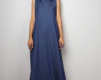 Denim Dress / Sleeveless Blue Dress with hood / Long Blue Denim Dress  : The Soul of the Orient Collection No.4