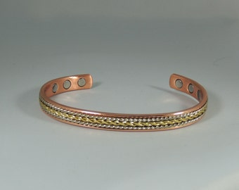 Tricolor Magnetic Copper Bracelet