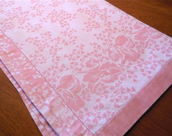 Pink Square Table Cloth Damask Pink Tablecloth Floral Blossom Table Cover Cottage Chic Dining Tablecloth