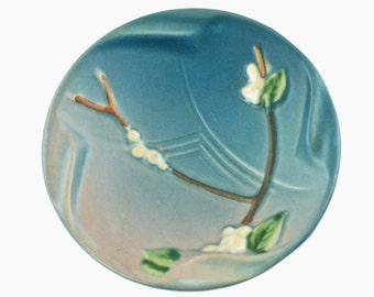 Vintage Roseville Pottery Snowberry Blue Ashtray Pin Dish
