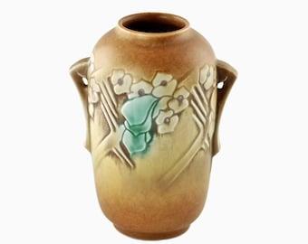 Vintage Roseville Pottery Clemana Brown Handled Vase