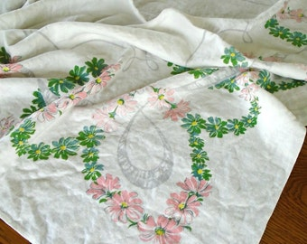 Vintage Pink Flower Tablecloth / Fluffy Cotton Tablecloth / Retro Print / Retro Flowers / Pink And Green Flowers / Cottage Kitchen / White