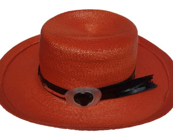 Vintage YSL Yves Saint Laurent Orange Woven Raffia Hat with Black Patent Band and MOP Lucite Buckle