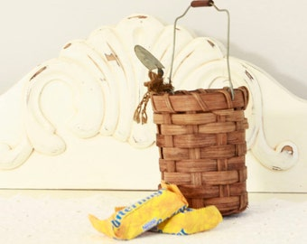 Hand Woven Basket w/Shovel - Decorative Basket with Handle - Cabin Decor - Cottage Home Decor - Small Container