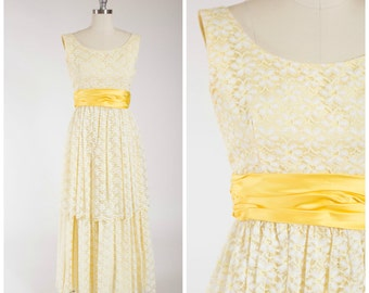 Vintage 1960s Dress • Far Too Long • Yellow Satin and Lace 60s Evening Gown Size Small