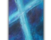 "Original Abstract Acrylic Fine Art Painting 24 x 30 Gallery Wrap Canvas ""Blue Cross"" by Linda Miller, FREE Shipping"