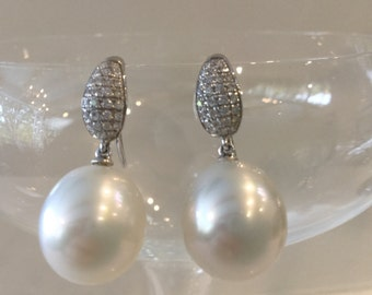 South Sea Pearl and Diamond Earrings in 18kt Solid White Gold