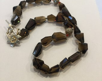 Chunky Smokey Quartz and Carnelian Necklace with Gold Filled Beads and Clasp