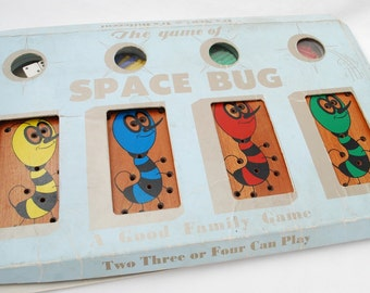 Vintage Space Bug Game -  1950's Drueke & Sons - Educational  Peg Game For All Ages