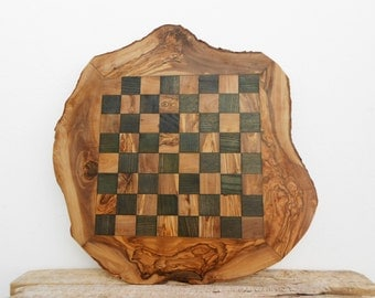 Rustic Olive Wood Chess Board Set, Personalized Wooden Chess Set Game, Dad gift, Boyfriend Gift, Birthday Gift