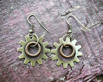 Steampunk Antiqued Brass and Copper Earrings