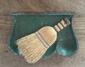 Vintage Whisk Broom And Green Dust Pan  Craft Room Clean-up  Farm House Kitchen  Vintage Display or Prop