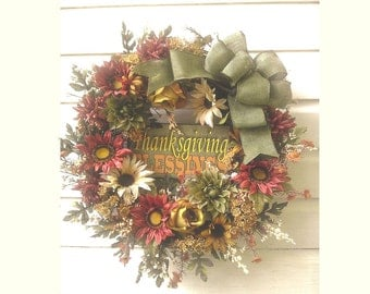 Fall Thanksgiving Front Door Wreath Grapevine Wreath Rose Mums Blessings Sign Burlap Bow