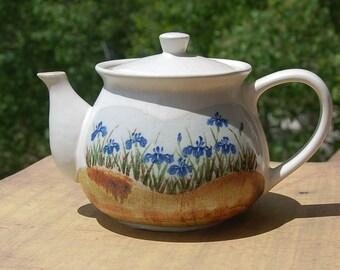 Stoneware  Teapot Irises