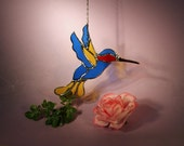Stained Glass Suncatcher Hummingbird with Ruby Throat  (679)
