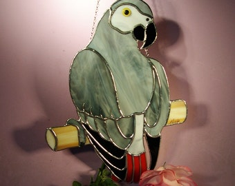 Stained Glass Suncatcher African Gray Parrot  (749)