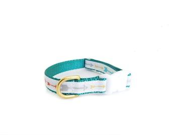 Puppy Collar,Arrow Print Collar, Teal Dog Collar