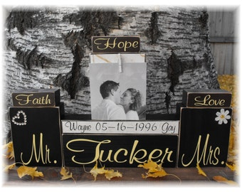 Personalized Family Name Est Date Wood Block Set Wood Sign