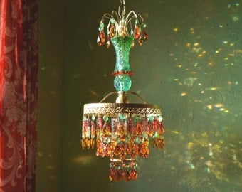 Featured in Romantic Homes Magazine! Crystal Chandelier Lighting, Caribbean Gypsy Sunset , Layaway Available