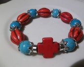 Red Turq Cross and Red Corral Barrels with Turq Rounds- Cowboy- Rodeo- Beaded Stretch Bracelet  (312)