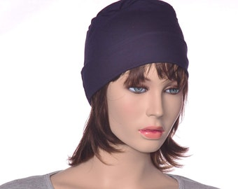 Navy Blue Nightcap Cotton Jersey Knit Round Sleeping Hat Yoga Cap Scrub Hat Round Night Cap Chemo Hat