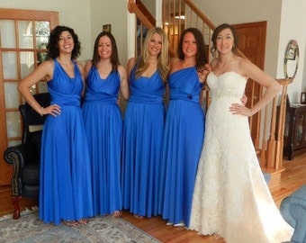"""RESERVED for Brittany - 4 Custom Princess """"Infinity"""" Dresses in Royal Blue Satin Jersey"""