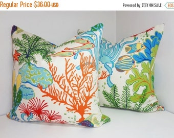 FALL SALE Set of 2 OUTDOOR Ocean Fish Coral Outdoor Pillow Cushion Covers Porch Pillow Set Pool Pillow 18x18