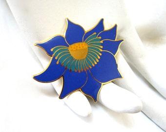 Signed LAUREL BURCH Blue Lotus Brooch, Enameled Flower Pin, Floral, Gift Idea, Excellent