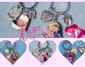 Keychains Free Form Resin Domed Heart Custom Photo Glitter and Charms