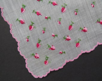 Vintage Embroidered Pink Rose Buds Handkerchief Hanky Hankie - White Pink Roses - Collectible - Accessories - Bride Wedding Something Old