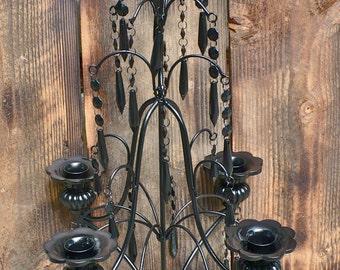 Gorgeous 5 Arm Candelabra Black Wedding Centerpiece Hollywood Regency