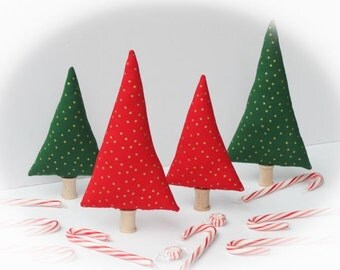 Red and green Pine trees Tiny Forest set of 4 Christmas colors golden stars stuffed fabric trees wonderland fabric trees plush toy