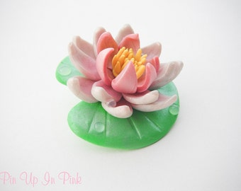 Clay Waterlily Brooch
