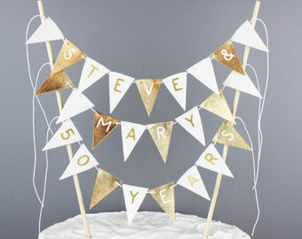 Personalized 50th Wedding Anniversary Cake Banner, Metallic Gold and White Cake Topper Bunting Pennant Garland, Fancy Large Cake Centerpiece