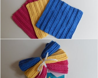 Dishcloth Gift Set – Crochet - Includes Gift Card – Pink Yellow Blue