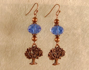 Tree of Life Earrings - Sapphire Blue Crystals with Antique Copper Findings - E108