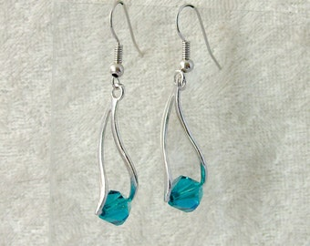 Swarovski Crystal Earrings - Teal