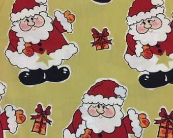 "1 Yard of Fabric Santa Clause 43"" Wide - Santa Clause Print with Wrapped Packages - Christmas, Holiday, Sewing, Crafts, Supplies"
