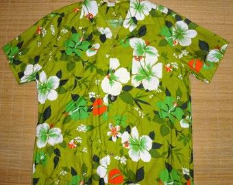 Mens Vintage 60s Jungle Jam Floral Green Hawaiian Aloha Shirt  - 2XL XXL - The Hana Shirt Co