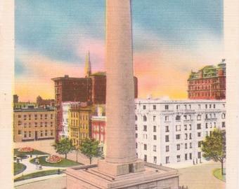 Baltimore, Maryland, Washington Monument, Mt. Vernon Place - Linen Postcard - Unused (K1)