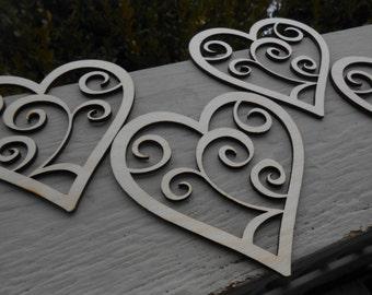 Wood Swirly Hearts, Set of 4. Laser Cut. Wedding, Event, Valentine Decoration, Gift.