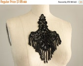 SALE 10% OFF Black Beaded And Sequin Fringe Applique / Available in Black, White, Blue & Pink / Vintage Flapper Style / Bridal / Wedding Dre