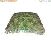 Valentine SALE antique large VICTORIAN pin cushion , Needle Point w Beaded tassels ,  Green silk