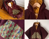 Car Seat Cape Poncho (Brown Gold Leaves) Reversible Kids Hooded Fleece Poncho Cape with ears