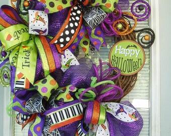 Happy Halloween Wreath in Greens, Purples, Oranges, Blacks